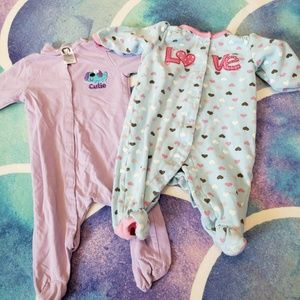 30% Off Bundles Lot of 2 Baby Girl Footies